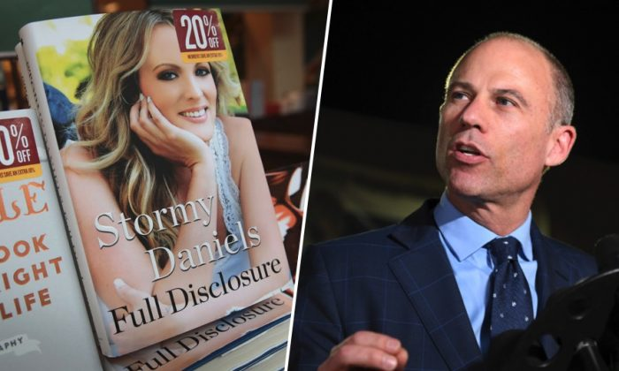 (L) Full Disclosure, a memoir by adult film actress Stormy Daniels, at a Barnes&Noble store in Chicago, Ill. on Oct. 2, 2018. (R) Lawyer Michael Avenatti speaks to the media outside the office of the LAPD after posting bail for domestic violence, Los Angeles, Cal., on Nov. 14, 2018. (Scott Olson/Getty Images; AP Photo/Michael Owen Baker)