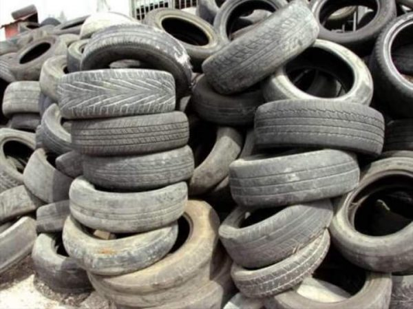Worn-out tyres assembled for transformation into slippers at Mfou Principal Prison in Cameroon on Oct. 10, 2018.