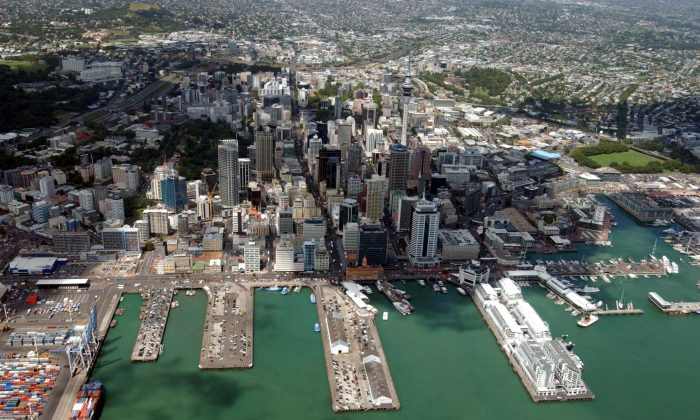 Auckland City aerial image showing the harbor and port, Auckland, New Zealand on Feb. 8, 2005.  (Phil Walter/Getty Images)