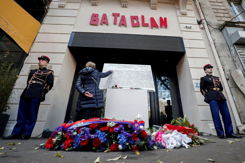 a commemorative ceremony for terror attack in Paris