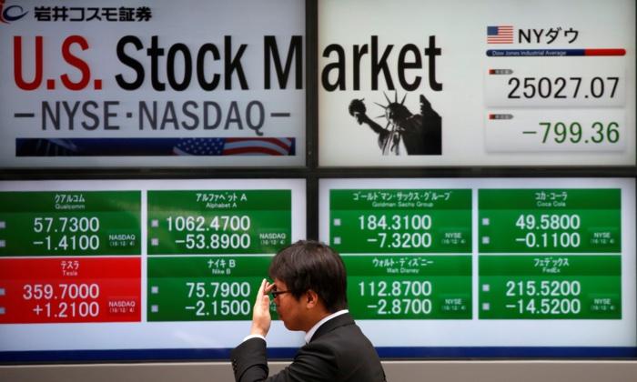 U.S. stock market indicators in Tokyo, Japan