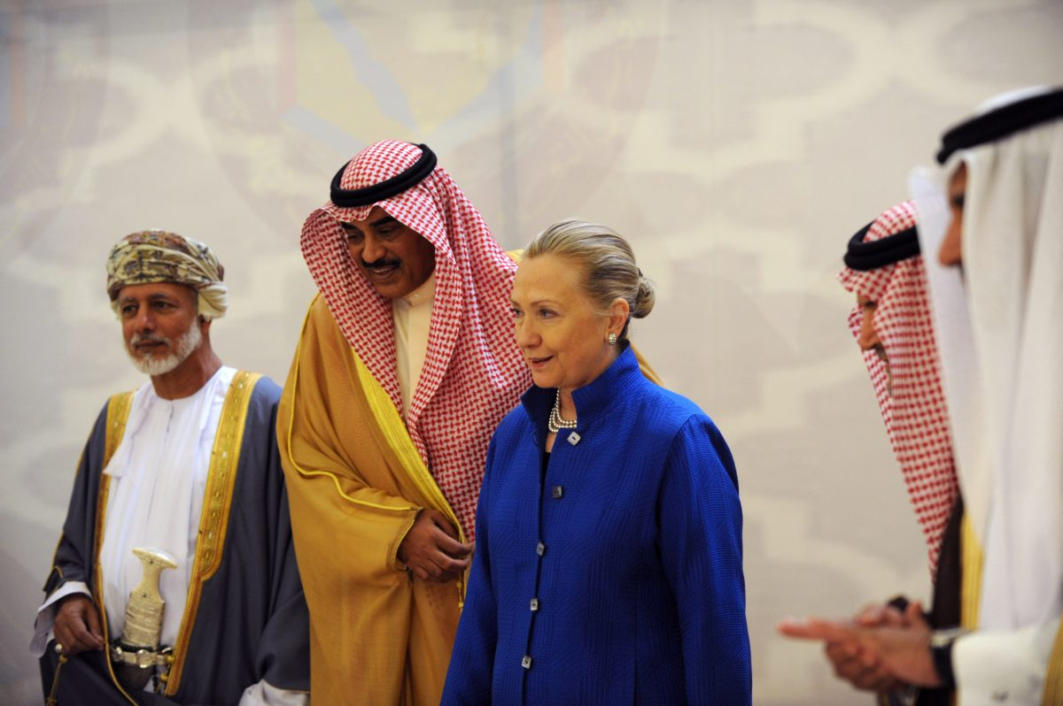 (L-R) Omani Minister of Foreign Affairs Yussef bin Alawi bin Abdullah, Kuwaiti Foreign Minister Sheikh Sabah Khaled al-Hamad Al-Sabah, US Secretary of State Hillary Rodham Clinton, Saudi Foreign Minister Prince Saud Al-Faisal and Qatar's Prime Minister and Foreign Minister Sheikh Hamad Bin Jassim Bin Jabr Al-Thani, attend a US- Gulf Cooperation Council forum in Riyadh on March 31, 2012. (FAYEZ NURELDINE/AFP/Getty Images)