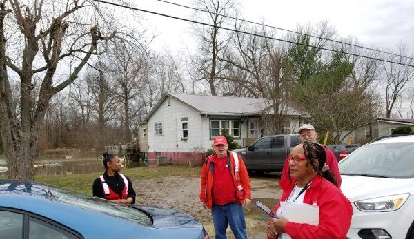 Harris with volunteers