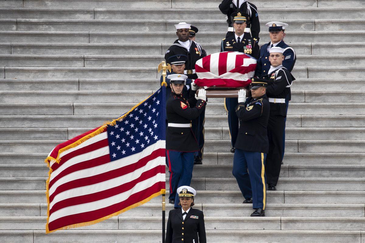 President George H.W. Bush casket is moved