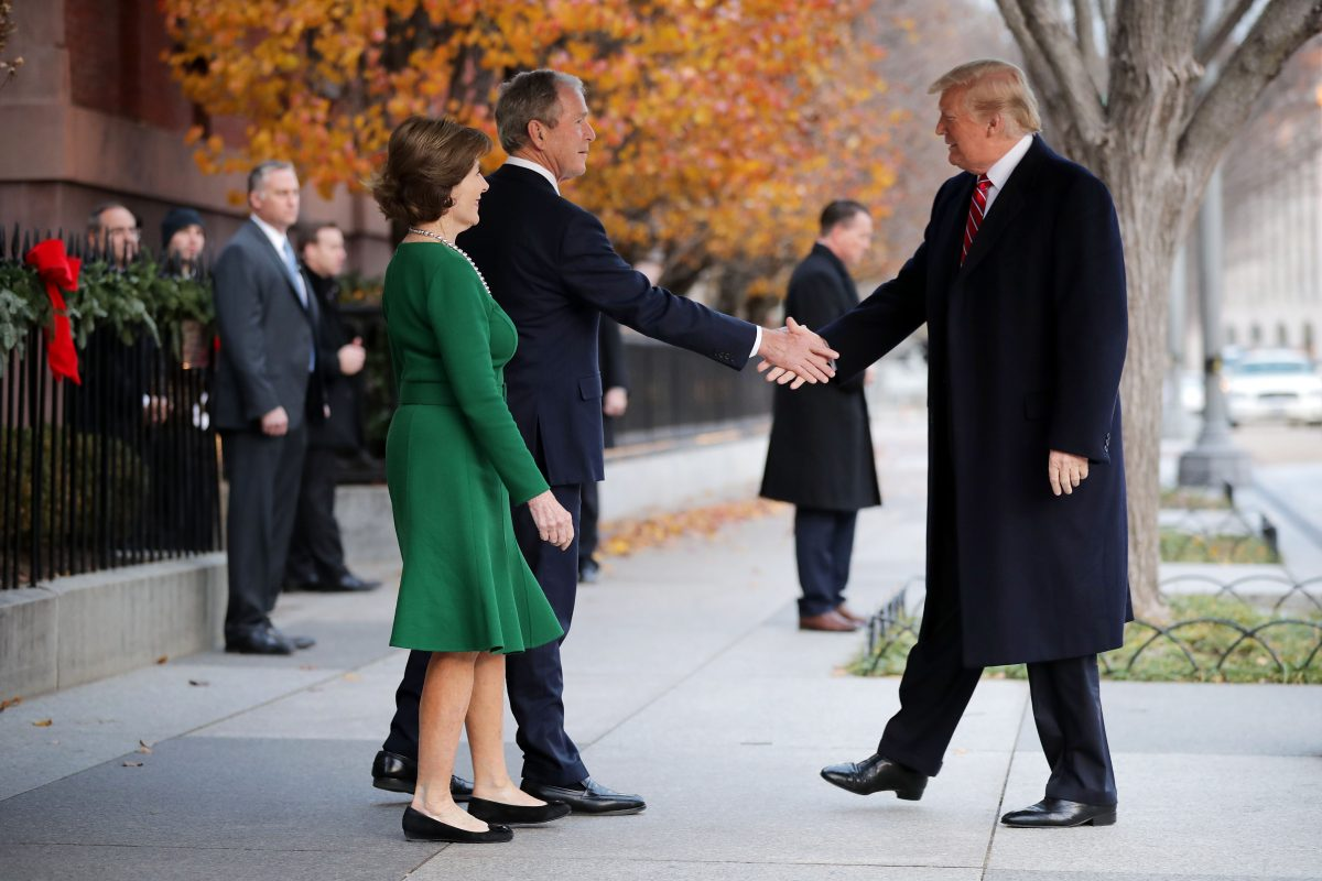 President Trump Visits Former President George W. Bush And Former First Lady Laura As President H.W. Bush is dead
