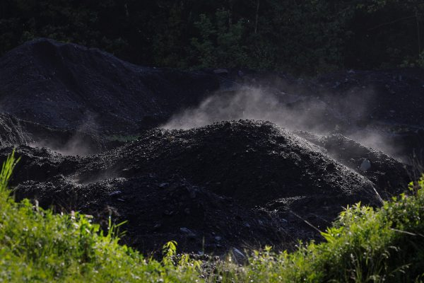 Steam rises from a pile of coal at a mine in Bishop West Virginia