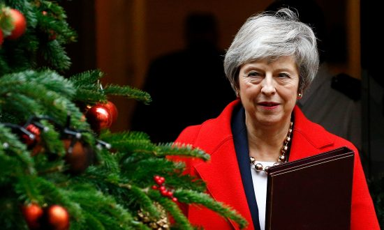 Britain's Prime Minister Theresa May leaves 10 Downing Street in London on Dec. 4, 2018. (Henry Nicholls/Reuters)