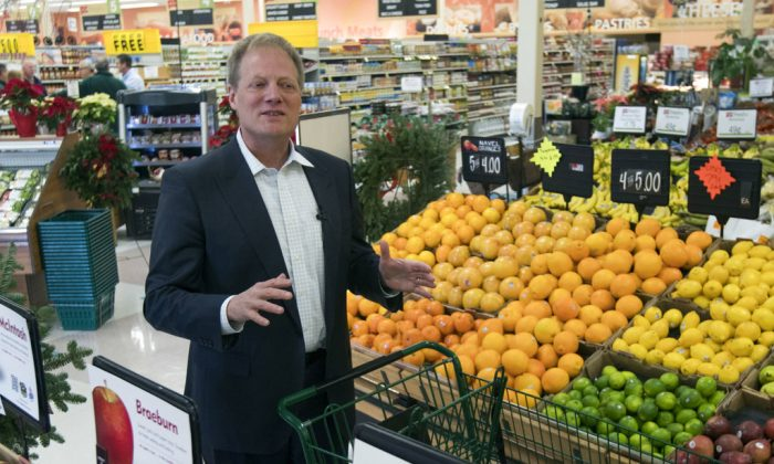 Brian Wansink speaks during an interview in the produce section of a supermarket in Ithaca, N.Y., on Dec. 6, 2018. (Mike Groll/AP Photo)