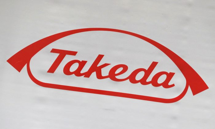 The logo of Takeda Pharmaceutical Co. Japan May 9, 2018.  (Kim Kyung-Hoon/Reuters)
