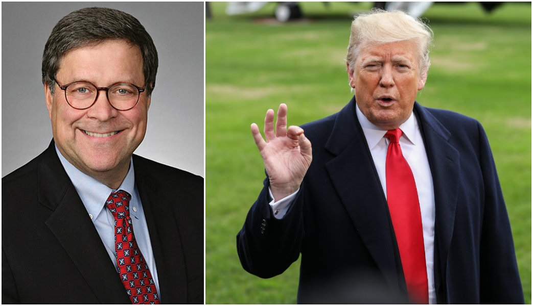 L: William Barr. (Time Warner via AP); R: President Donald Trump speaks to the press on the South Lawn of the White House in Washington