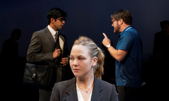 """Adelaide Clemens (foreground) with Eshan Bajpay (L) and Robert Petkoff as they appear in Tom Stoppard's """"Hard Problem."""" (Paul Kolnik)"""