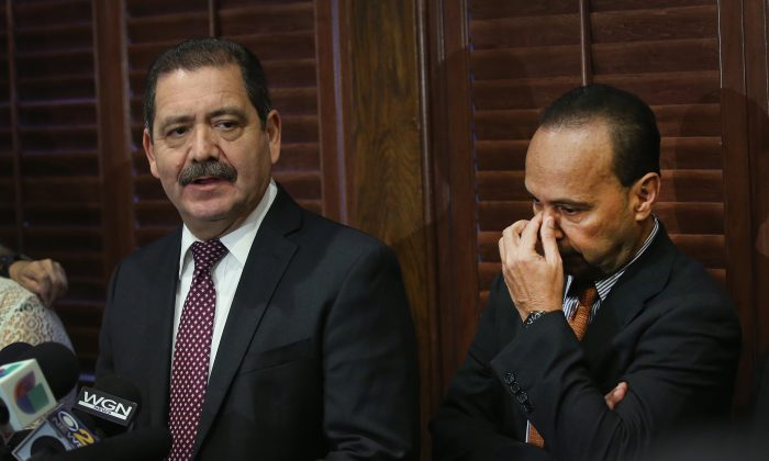 "Cook County Board Commissioner Jesús ""Chuy"" García speaks with reporters in Chicago, Illinois, on Nov. 28, 2017, after U.S. Rep. Luis Gutiérrez (D-IL) (R) announced his retirement from Congress at the end of his current term and his endorsement of Garcia for the seat. Garcia went on to be elected to Congress in the November 2018 elections. (Scott Olson/Getty Images)"