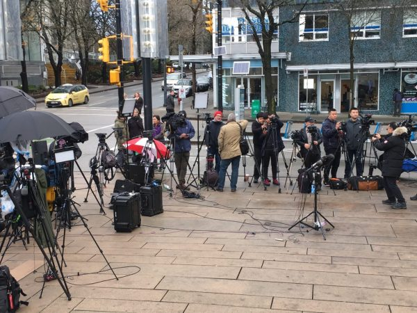 Reporters gather outside Huawei CFO Meng Wanzhou's bail hearing at the British Columbia Supreme Court in Vancouver on Dec. 10, 2018.