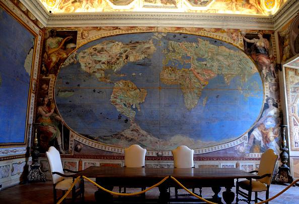 Worldmap Hall by Giovanni Antonio da Varese known as Vanosino, Giovanni de' Vecchi, Raffaellino Motta da Reggio, Italy, Lazio, Caprarola, Villa Farnese. (Claudia Beretta/Mondadori Portfolio via Getty Images)
