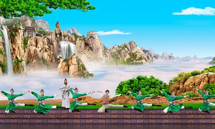 A scene from a Shen Yun performance. A man accidentally stumbles into an ancient Taoist training ground and learns to master the art of archery. (Courtesy Shen Yun Performing Arts)