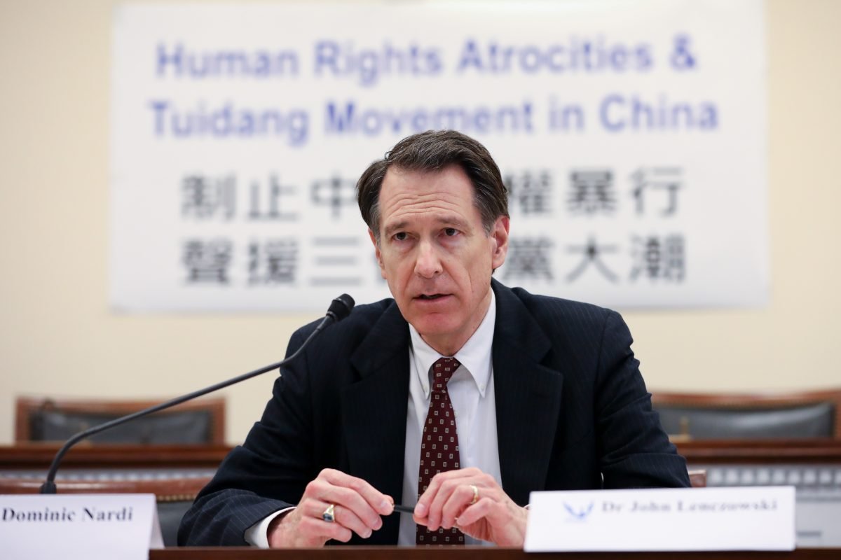 John Lenczowski, president of the Institute of World Politics, speaks at the Deteriorating Human Rights and Tuidang Movement in China forum on Capitol Hill in Washington on Dec. 4, 2018. (Samira Bouaou/The Epoch Times)