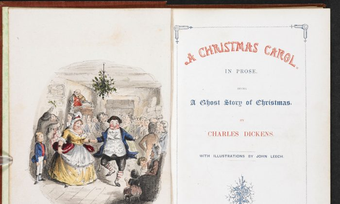 "The first edition of ""A Christmas Carol in Prose: Being a Ghost Story of Christmas,"" 1843, by Charles Dickens with illustrations by John Leech. (Public domain)"