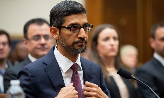 Google CEO Sundar Pichai testifies during a House Judiciary Committee hearing on Capitol Hill on Dec. 11, 2018. (Saul Loeb/AFP/Getty Images)
