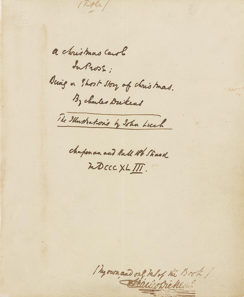 Charles Dickens A Christmas Carol Manuscript
