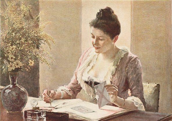 The answer, woman writing a letter, illustration by Edelfelt from L'Illustration, No 2388, on Dec. 1, 1888. (GettyImage)