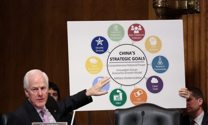 """Sen. John Cornyn (R-Texas) at the Senate Judiciary Committee hearing on """"China's Non-Traditional Espionage Against the United States: The Threat and Potential Policy Responses"""" in Washington on Dec. 12, 2018. (Jennifer Zeng/The Epoch Times)"""