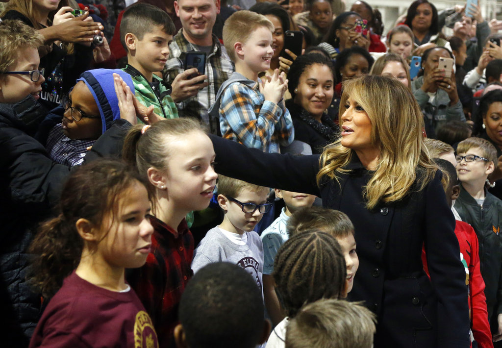 First Lady Melania Trump tours Joint Base Langley