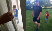 Boy shows up at neighbor's door every day to do yard work after soldier dad is deployed