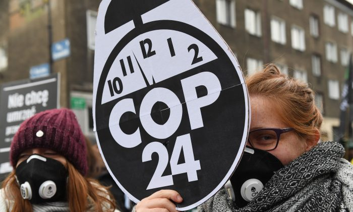 Protesters are pictured during a march for the climate on sidelines of the 24th Conference of the Parties to the United Nations Framework Convention on Climate Change (COP24) summit on Dec. 8, 2018, in Katowice, Poland. (JANEK SKARZYNSKI/AFP/Getty Images)