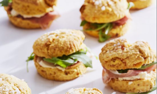 Sweet potato biscuits with prosciutto goat cheese arugula. (Linda Pugliese)