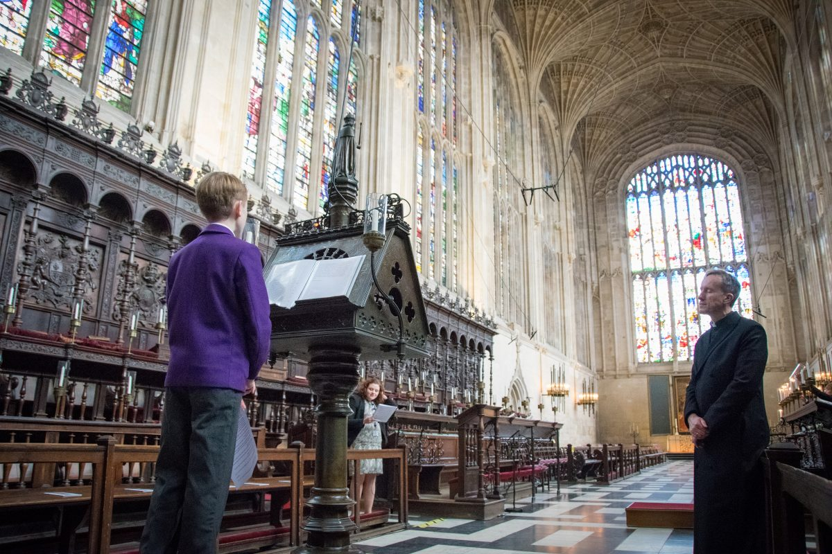 King's College Cambridge Chapel reading boy