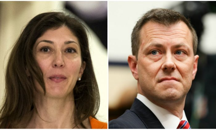 (L) Lisa Page, former legal counsel to former FBI Director Andrew McCabe, arrives on Capitol Hill on July 16, 2018. (Andrew Caballero-Reynolds/AFP/Getty Images) (R) FBI Deputy Assistant Director Peter Strzok testifies on Capitol Hill in Washington on July 12, 2018. (Samira Bouaou/The Epoch Times)