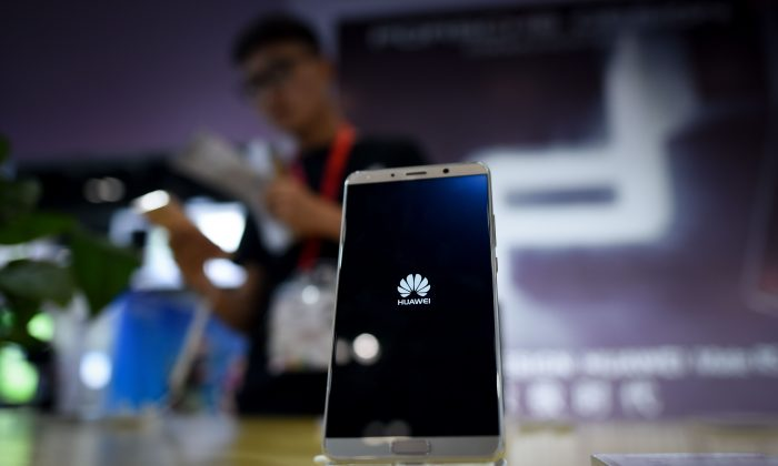 A Huawei mobile phone on display in Beijing on July 9, 2018. (WANG ZHAO/AFP/Getty Images)