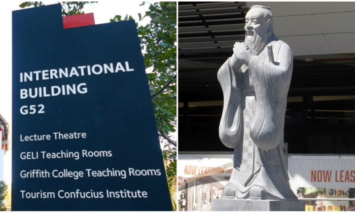 The International Building at Griffith University where the Tourism Confucius Institute operates on the Gold Coast campus.  (Richard Szabo/The Epoch Times) and the Confucius statue at Gold Coast Chinatown, which was partly funded by the Confucius Institute. (Shiftchange/Wikimedia Commons CC)