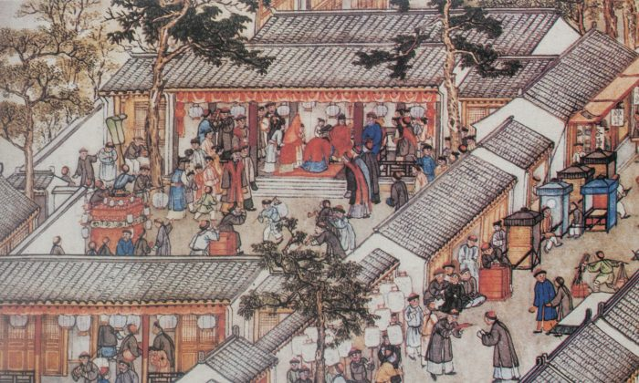 "A traditional marriage ceremony in China as depicted in a detail from ""Prosperous Suzhou"" by Xu Yang, 1759. (Public Domain)"