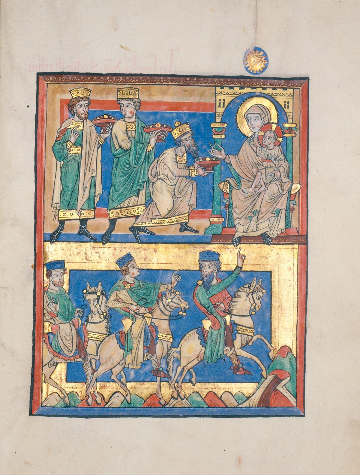 illuminated German manuscript-adoration of Magi