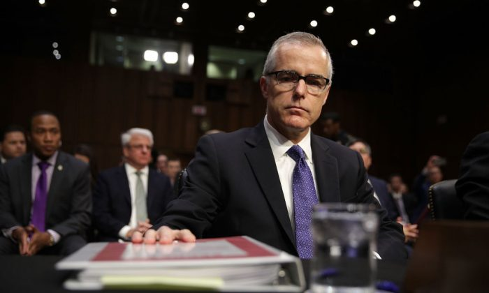 Acting FBI Director Andrew McCabe waits for the beginning of a hearing before the Senate Intelligence Committee with the other heads of the U.S. intelligence agencies in the Hart Senate Office Building on Capitol Hill May 11, 2017 in Washington, D.C. (Alex Wong/Getty Images)