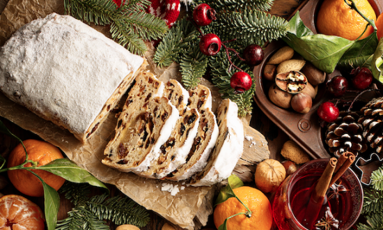 Traditional Christmass stollen with marzipan and dried fruit. (Shutterstock)