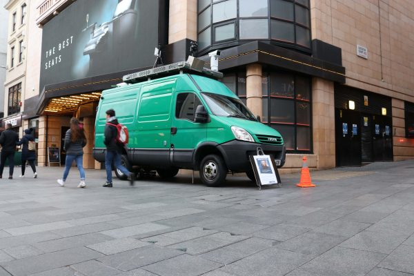 A van with facial recognition cameras mounted on it