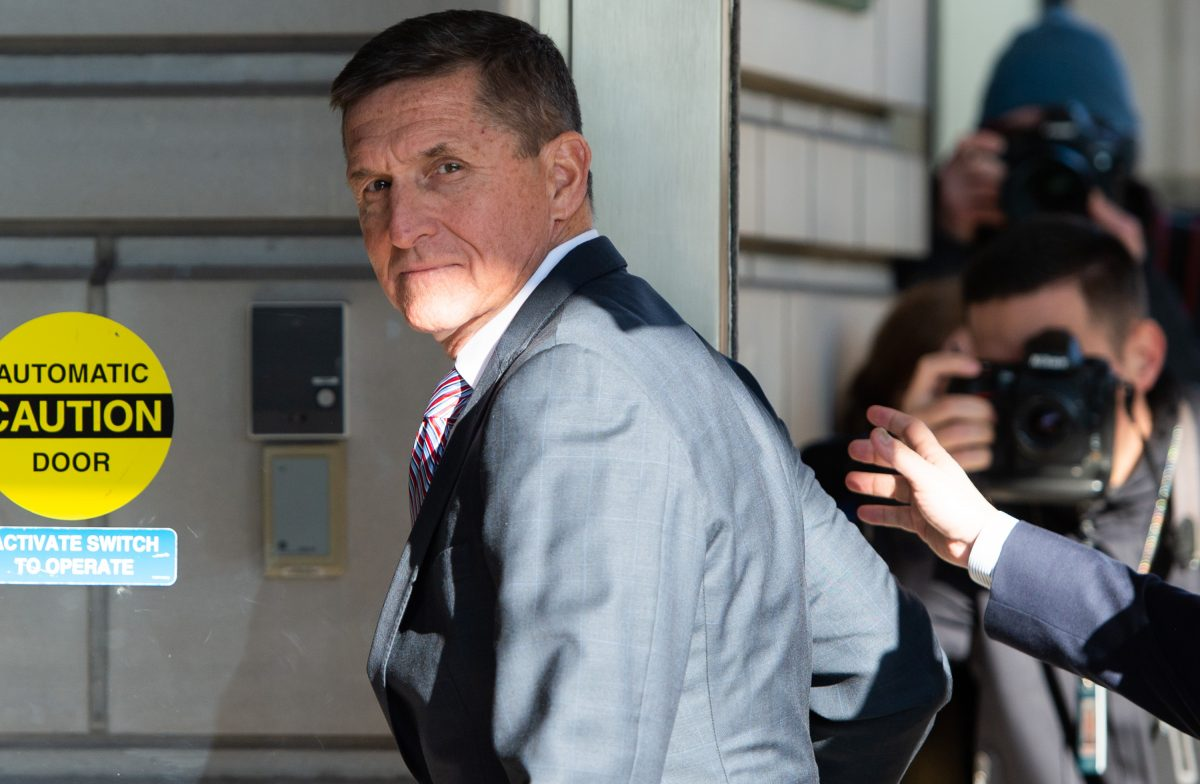 Former National Security Advisor General Michael Flynn arrives for his sentencing hearing at U.S. District Court in Washington
