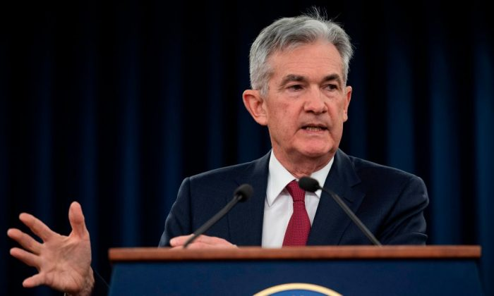 US Federal Reserve Board Chairman Jerome Powell holds a news conference after a Federal Open Market Committee meeting in Washington, DC, Dec. 19, 2018. (Jim Watson/AFP/Getty Images)