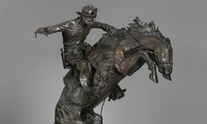 """The Broncho Buster,"" 1895, revised 1909, by Frederic Remington. Bronze, cast by November 1910, 32 1/4 inches x 27 1/4 x 15 inches. Bequest of Jacob Ruppert, 1939. (The Metropolitan Museum)"