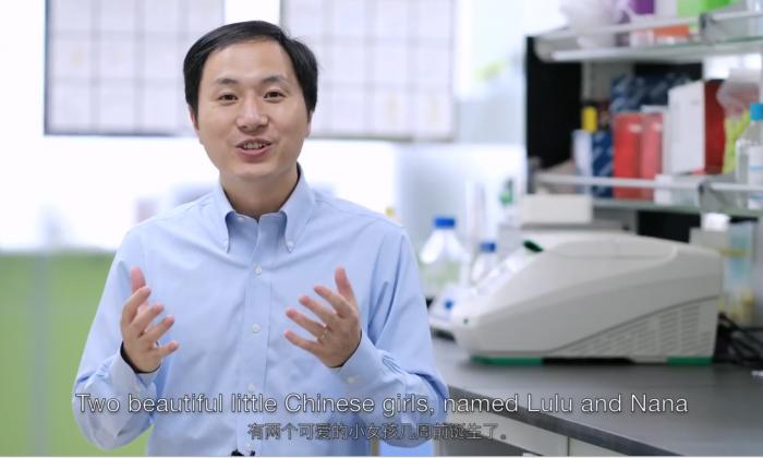 Screenshot of He Jiankui's youtube video announcing the creation of gene-edited babies Lulu and Nana (Screenshot/The He Lab)