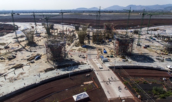 Aerial view of the construction site of Mexico City's new airport, in Texcoco, Mexico, on November 6, 2018. (Photo by PEDRO PARDO / AFP)        (Photo credit should read PEDRO PARDO/AFP/Getty Images)