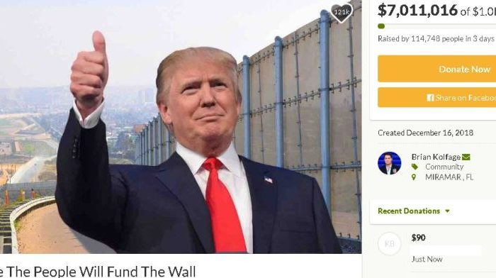"A GoFundMe page titled, ""We The People Will Fund The Wall,"" has raised about $7 million out of $1 billion as of Dec. 20. (GoFundMe)"