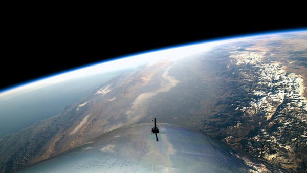 A view from the edge of space is seen from Virgin Galactic's manned space tourism rocket plane SpaceShipTwo