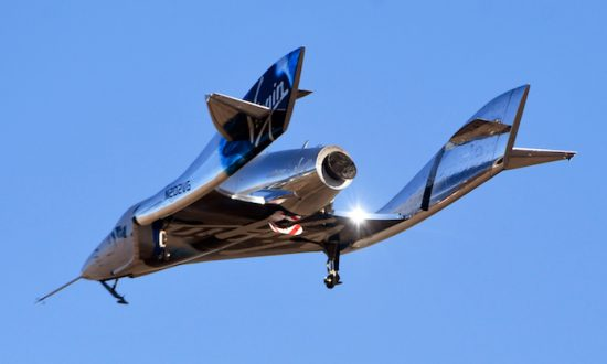 Virgin Galactic's space tourism rocket plane SpaceShipTwo returns after a test flight  from Mojave Air and Space Port in Mojave, Calif., on Dec. 13, 2018. (Reuters/Gene Blevins)