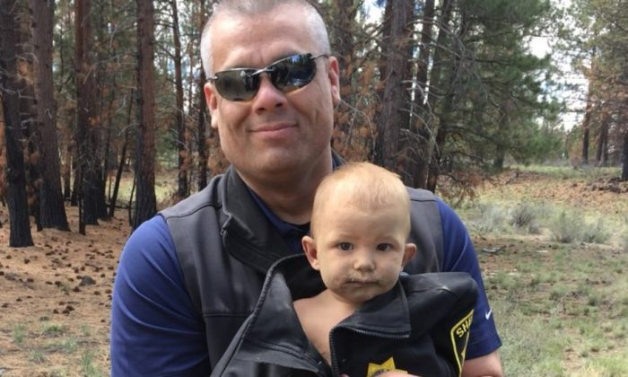 A 13-month-old boy who was abandoned in the woods of central Oregon had a broken leg, a skull fracture, and methamphetamine in his system when he was discovered, according to prosecutors. (Deschutes County Sheriff's Office)