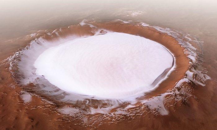 Perspective view of Korolev crater. (ESA/DLR/FU Berlin, CC BY-SA 3.0 IGO)