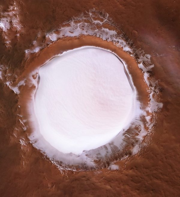 perspective view of ice crater on Mars