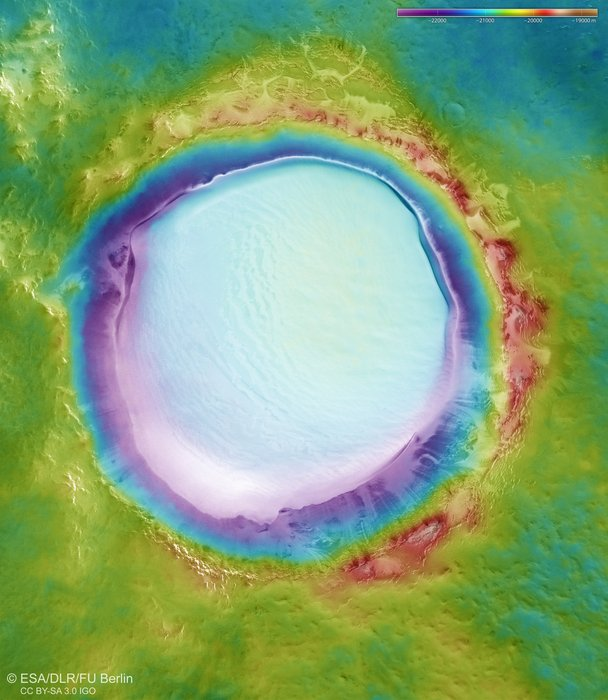 large crater on mars today